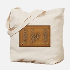 Southwest Lizard on Leather Tote Bag