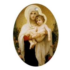 Madonna Of The Roses Oval Ornament