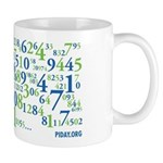 Collage of Digits Mug - Pi's digits artfully wrapped around your warm beverage. - Availble Sizes:Small,Mega (+$5.00) - Availble Colors: White,Black Color Changing