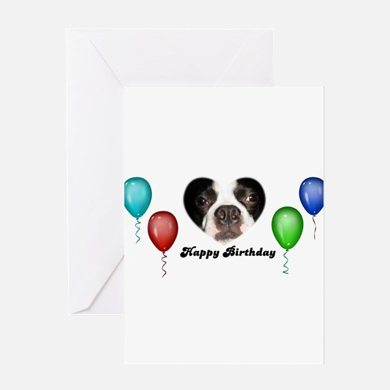 Cute Boston terrier party Greeting Card