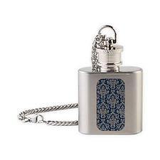 Monaco Blue & Linen Damask #4 Flask Necklace