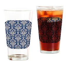 Monaco Blue & Linen Damask #4 Drinking Glass