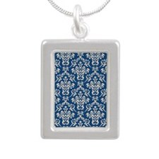 Monaco Blue & Linen Damask #4 Silver Portrait Neck