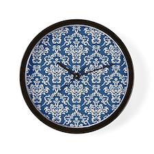 Monaco Blue & Linen Damask #4 Wall Clock