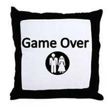 Game Over Bride and Groom Throw Pillow