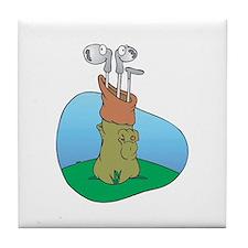 Silly Golf Clubs Tile Coaster