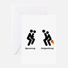 Spooning and Jetpacking Greeting Card