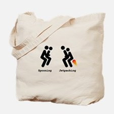 Spooning and Jetpacking Tote Bag