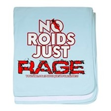 No Roids Just Rage (Black) baby blanket