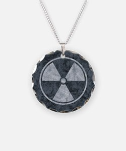 Distressed Gray Radiation Symbol Necklace