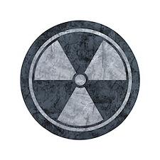 "Distressed Gray Radiation Symbol 3.5"" Button"