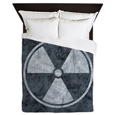 Distressed Gray Radiation Symbol Queen Duvet