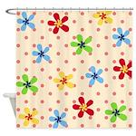 Flower Polka Dot Pattern Shower Curtain