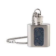 Monaco Blue & Linen Damask #5 Flask Necklace