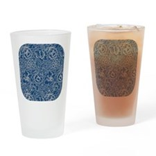 Monaco Blue & Linen Damask #5 Drinking Glass