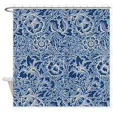 Monaco Blue & Linen Damask #5 Shower Curtain