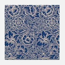 Monaco Blue & Linen Damask #5 Tile Coaster