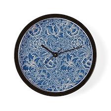 Monaco Blue & Linen Damask #5 Wall Clock