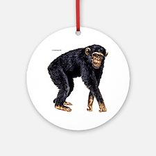 Chimpanzee Monkey Ape Ornament (Round)