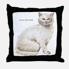 Odd-Eyed Turkish Angora Cat Throw Pillow