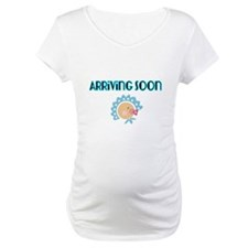 Arriving Soon. Baby in Blue Shirt