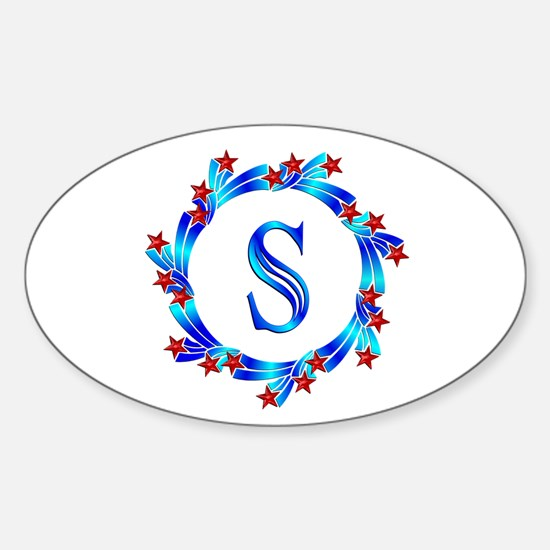 Blue Letter S Monogram Sticker (Oval)