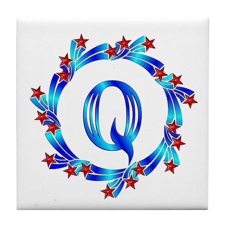 Blue Letter Q Monogram Tile Coaster By GiftMart