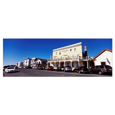 Cars parked in front of buildings, Mendocino, Cali Poster