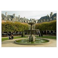 Fountain in a garden, Place Des Vosges, Le Marais, Poster