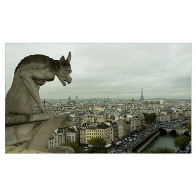 Gargoyle statue at a cathedral, Notre Dame, Paris, Poster