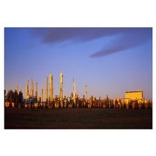 Oil industry at sunrise, Cochrane Gas Plant, Cochr
