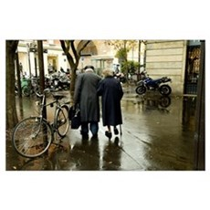 People walking in the street, Jewish Quarter, Le M Poster