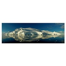 Reflection of a glacier in water, Antarctic Penins Framed Print