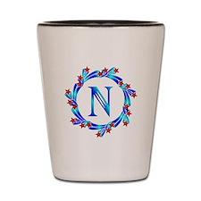 Blue Letter N Monogram Shot Glass