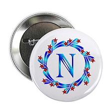 "Blue Letter N Monogram 2.25"" Button (10 pack)"