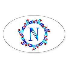 Blue Letter N Monogram Decal