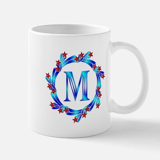Blue Letter M Monogram Mug