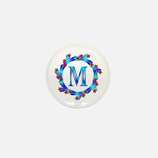 Blue Letter M Monogram Mini Button