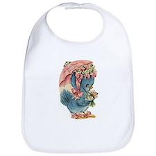 Vintage Easter Blue Bird Bonnet Bib