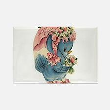 Vintage Easter Blue Bird Bonnet Rectangle Magnet