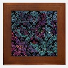 Damask pattern on purple and blue Framed Tile