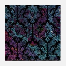 Damask pattern on purple and blue Tile Coaster