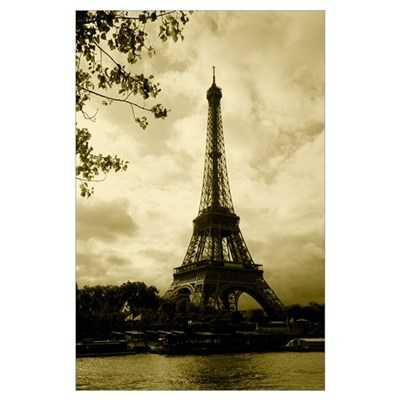 Tower at the riverside, Eiffel Tower, Champ De Mar Poster