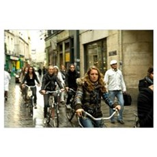 Women cycling in the street, Jewish Quarter, Le Ma Poster