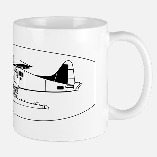 Indiscrete Seaplane Black White Oval Border Mug