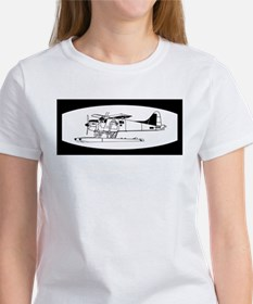 Indiscrete Seaplane Black White Oval T-Shirt