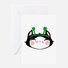 Kitty Face 4 Leaf Clovers (txt) Greeting Card