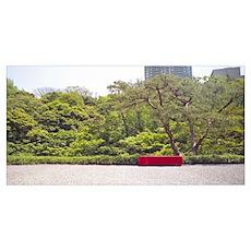 Bench in a garden, Happo-En Gardens, Tokyo Prefect Poster