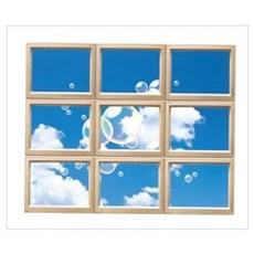 Blowing Bubbles in Blue Cloudy Sky Poster