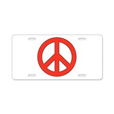 Red Peace Sign Aluminum License Plate